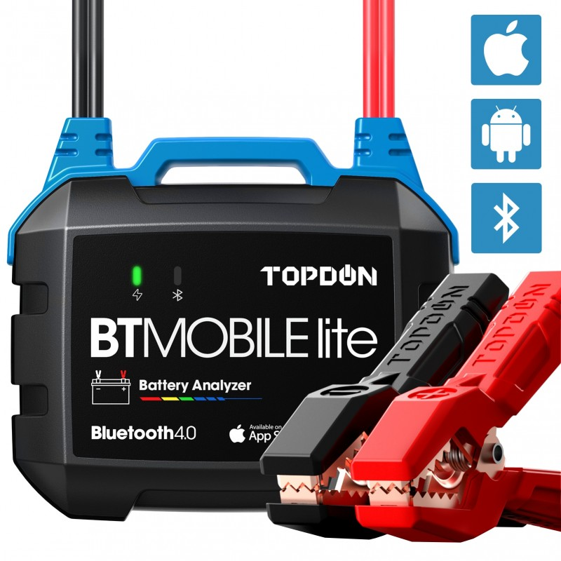 TOPDON Wireless Car Battery Tester BT Mobile Lite 12V Bluetooth Battery Monitor100 -2000CCA Auto Charger Cranking Analyzer To