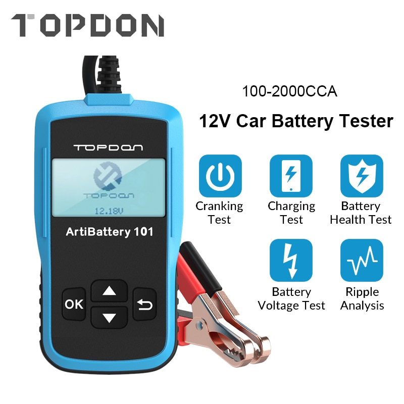TOPDON AB101 Car Battery Tester 12V Voltage Battery Test Automotive Charger Analyzer 2000CCA Car Cranking Charging Circut Tester