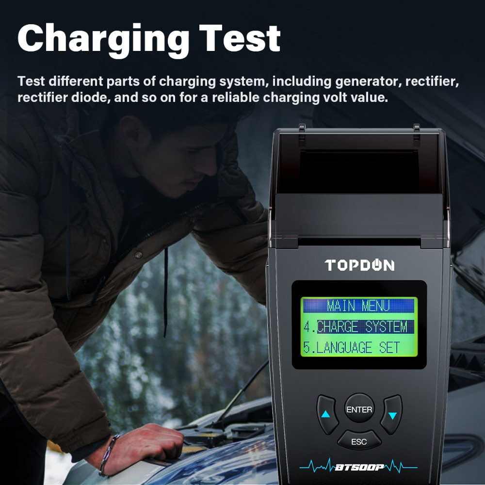 TOPDON BT500P Battery Tester with Printer Battery Load Test Charging Test Cranking Test for 12V 24V Car Truck SUV Motorcycle
